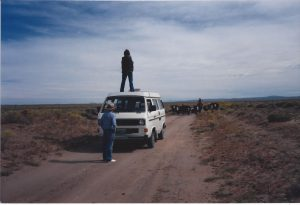 Nancy photographing cowboys, circa 1985