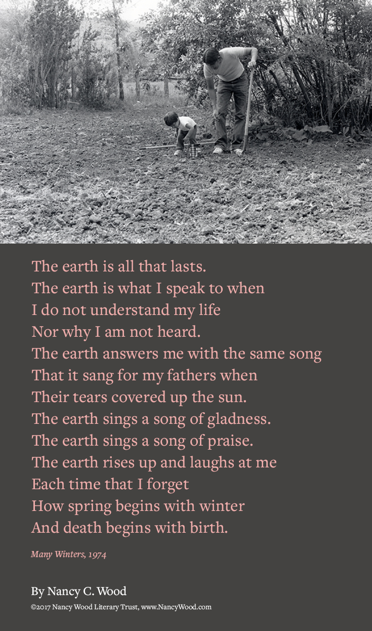 Nancy Wood poem poster 14 - The earth is all that lasts
