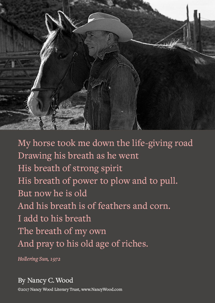Nancy Wood poem poster 7: My horse took me down the life-giving road