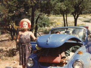 Nancy Wood in mask at Crestone, 1984