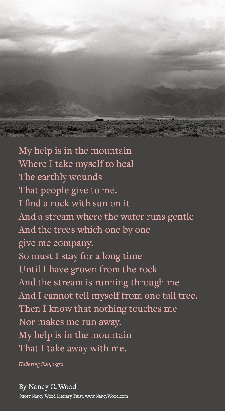 Nancy Wood poem poster 2: My help is in the mountain