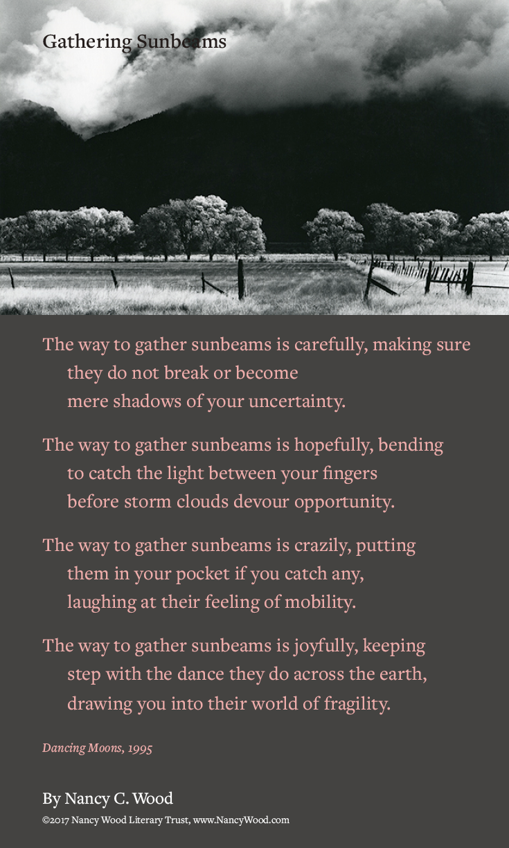 Nancy Wood poem poster 21: Gathering Sunbeams