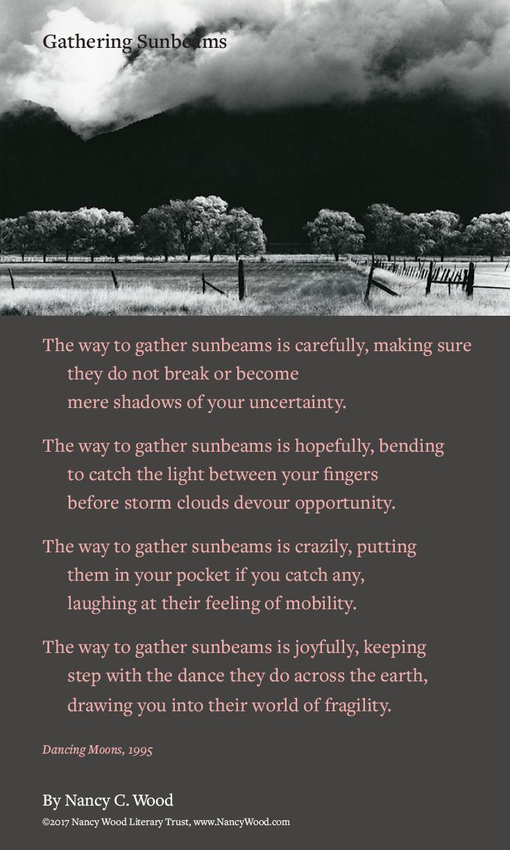Nancy Wood poem poster 21: Gathering Sunbeams