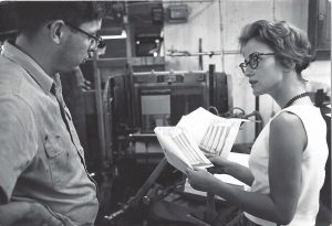 Nancy in 1960 at printers with her arts magazine